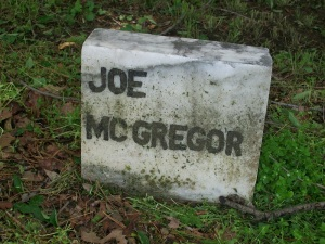 Joe McGregor is buried at Mitchell Cemetery in Waynesville.