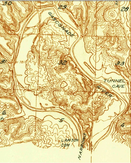 Moccasin Bend, and The Narrows, as seen on a 1936 USGS topographic map.