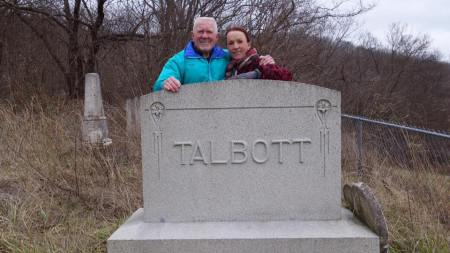 Jeri and her husband, Tom, at the final resting place of Tom's great grandparents, Peter Keefer Talbott and Anna Wright Talbott, in Jackson County, Illinois.