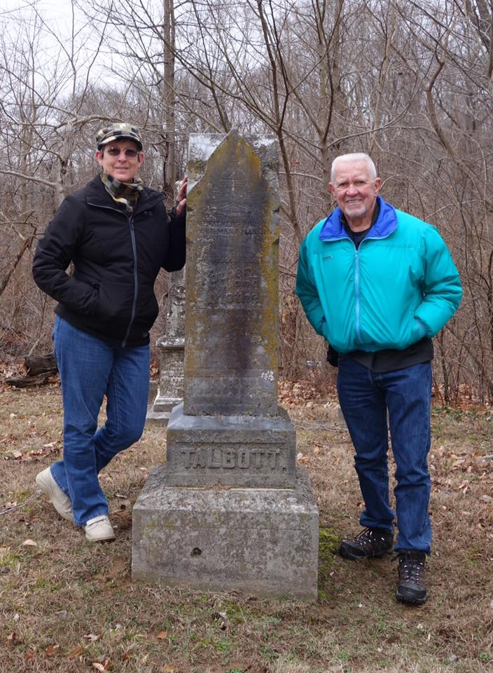 Tom & 3rd cousin Terry at the resting place of their common ancestors, their great great grandparents William E. Talbott (1817-1901) and Elizabeth Crain Talbott (1820-1891).