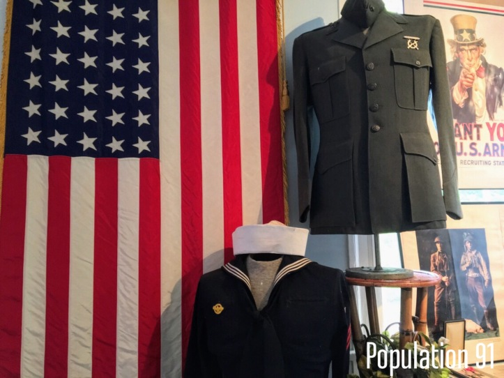 A military display at the Moore Home in Charleston, Missouri. Image by Laura (Abernathy) Huffman for Population 91.